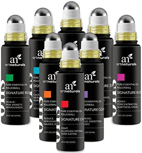 ArtNaturals Essential Oils Rollerball Blends - (8 x .33 Fl Oz / 10ml Roller Bottles) - Aromatherapy Roll On Pre-Diluted Gift Set - Jojoba Oil Peppermint, Lavender Eucalyptus and More - Sleep, Stress