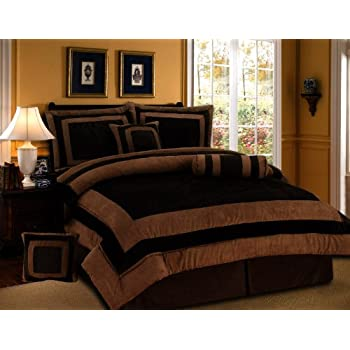 this item 7 pieces chocolate brown suede comforter set california cal king bedding set bedinabag - California King Bedding Sets
