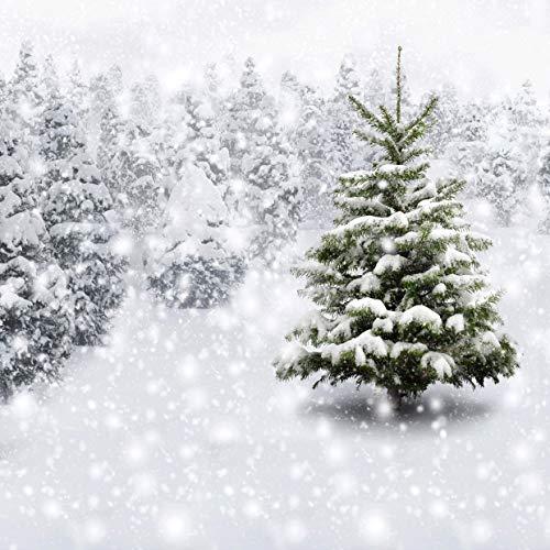 SJOLOON 10x10ft Winter Snow Tree Backdrop Christmas Photography Backdrop Photo Background Studio 11202