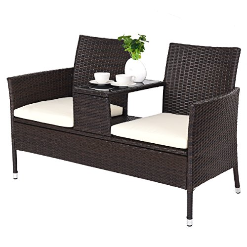 Garden Sofa Table - TANGKULA Outdoor Furniture Set Paito Conversation Set with Remoable Cushions & Table Wicker Modern Sofas for Garden Lawn Backyard Outdoor Chat Set (loveseat style)