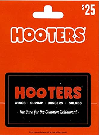 hooters gift card balance amazon com hooters gift card 25 gift cards 5546