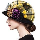 Maitose Women's Scottish Plaid Wool Peaked Cap Beret Yellow