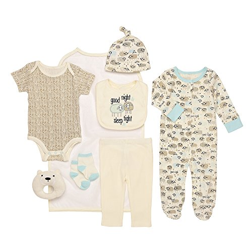 Price comparison product image Baby Starters 9-Piece Good Night, Sleep Tight Layette Gift Set Aqua/Beige 3-6 Months for Sleep & Play with Bodysuit, Pants, More