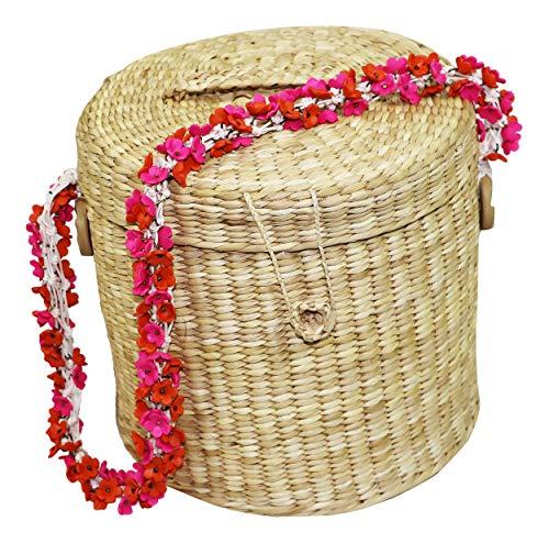 Nannacay Ana Cherry Blossom Strap Woven Basket Purse (Natural) ()
