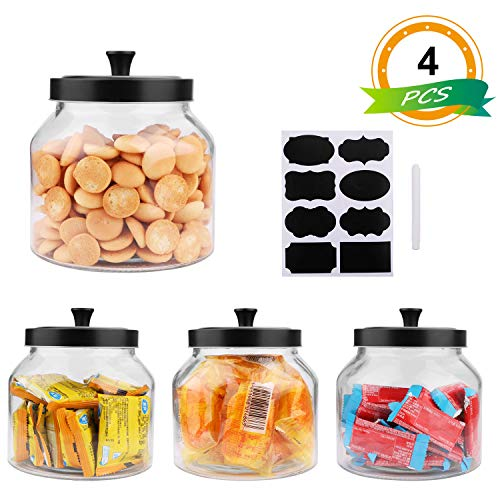 55oz / 1.5Quart Glass Jars With Sealed Lids, Clear Glass Food Storage container with Black Brushed Metal lids, Set of 4