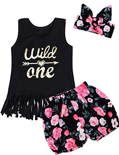 Baby Girls Floral Outfit Set Wild One 3Pcs Vest Dress with Headband (6-12 Months, Black04)