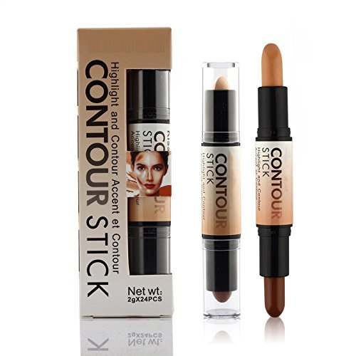 Contouring Highlighter Bronzer 3D Face Makeup Double-ended 2 in 1 Contour Stick Concealer Full Cover (Hard Candy Kiss)