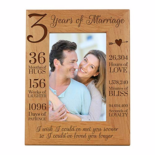 LifeSong Milestones 3rd Anniversary Picture Frame 3 Years of Marriage - Three Years Wedding Keepsake Gift for Parents Husband Wife him her Holds 4x6 Photo- I Wish I Could've Met You Sooner (6.5x8.5)