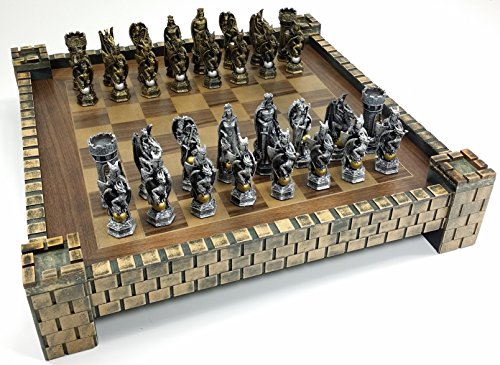 HPL King Arthur Camelot Knights Medieval Times Dragon Fantasy Chess Set W Castle Board 17""