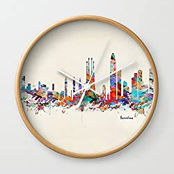 Society6 Barcelona Watercolor Skyline Wall Clock Natural Frame, White Hands