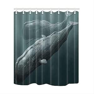 HBZZCL Pinturas de Tiburones Cortinas de Ducha para baño Mamparas de baño Lavables Tejido de poliéster Impermeable A Prueba de Moho con 12 Ganchos W165xH180cm Cortina H: Amazon.es: Hogar