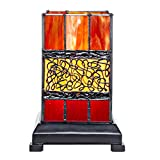 River of Goods 7571 Craftsman Style 9.63''H Stained Glass Hurricane Uplight Table Lamp with Filigree Detail - Red