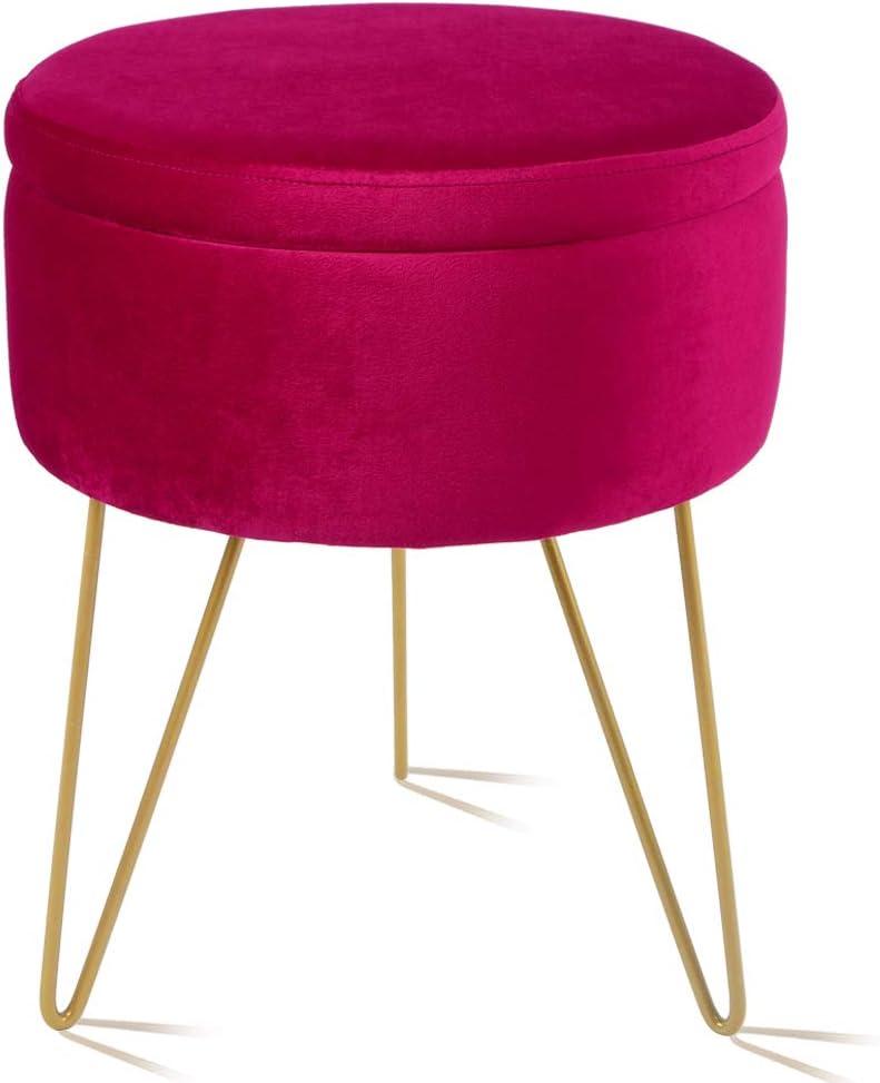 Velvet Storage Footrest Stool, Dressing Upholstered Vanity Chair Round Ottoman with Golden Metal Legs for Home Living Room Bedroom, Burgundy