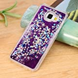 GOPROCELL (TM) TRANSPARENT LIQUID FLOWING GLITTER LUXURY FULL TPU FLEXIBLE CASE BLING STARS FOR SAMSUNG GALAXY J7 PRIME ON7 2016 (PURPLE)