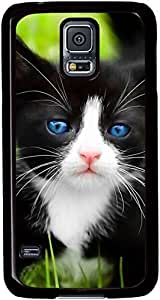 Black-Cat-Blue-Eyes Cases for Samsung Galaxy S5 I9600 with Black sides