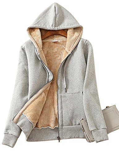 Hooded Fleece Sweatshirt Jacket - Yeokou Women's Casual Winter Warm Sherpa Lined Zip Up Hooded Sweatshirt Jacket Coat (XX-Large, Light Grey)