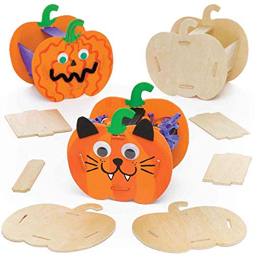 (Baker Ross Pumpkin Wooden Basket Kits (Pack of 3) for Kids Halloween Crafts and)