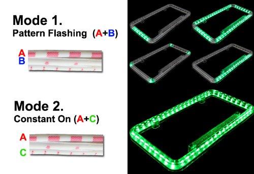 Universal 12v 54 LED Green Color Light Acrylic License Plate Frame HK5