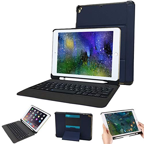 iPad Keyboard Case 9.7 for iPad 2018 (6th Gen)/iPad 2017 (5th Gen)/iPad Pro 9.7/iPad Air 2 & 1iPad Cases with Pencil Holder-Thin&Light Two in One Detachable Bluetooth Wireless Keyboard Case - Holder Wireless Large