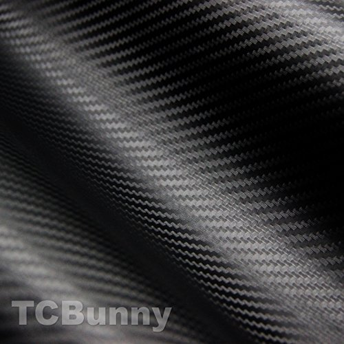 TCBunny 3D Carbon Fiber Vinyl Film Wrap Sticker Sheet, Black - 12 Inch x 60 Inch