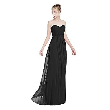 28daf812023 IBTOM CASTLE Women Strapless Sweetheart Long Bridesmaid Dress Empire Waist  Maxi Chiffon Wedding Pageant A-