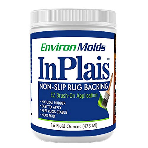 (InPlais Non-Slip Area Rug Backing (16 oz.) Fabric & Floor Safe Latex Layer | Easy, Paint-On Application Liquid | Kitchen, Bathroom, Hallway, Living Room | Dries Quickly)