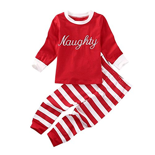 Naughty Pants (MILWAY Baby Boy Girl Christmas Clothes Nice Naughty Long Sleeve Tops+Stripe Pants Xmas Outfits Set (Red, 100CM/2-3T))