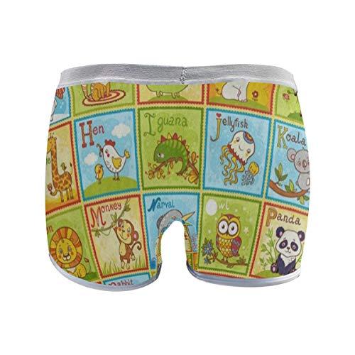 (SHNUFHBD Women's Regular Plus Size Underwear,Children's English Stretch Boxer Briefs Boyshort Panties for Girls M)