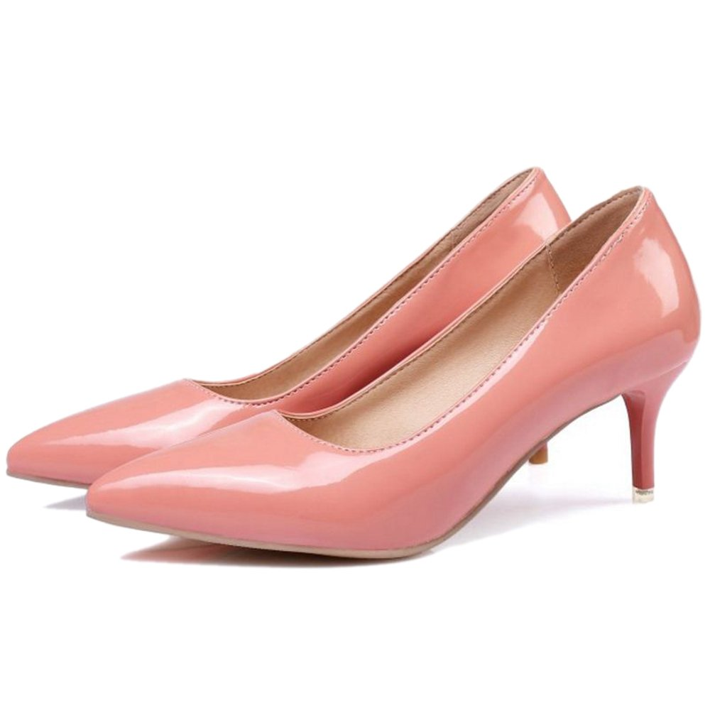 Smilice Women Plus Size US 0-13 Mid Heel Pointy Toe New Dress Pumps 6 Colors Available New B074RFH4GS 37 EU = US 6 = 23.5 CM|Pink