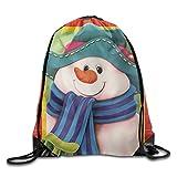 Merry Christmas Snowman Drawstring Bags Portable Backpack Pocket Bag Travel Sport Gym Bag Yoga Runner Daypack