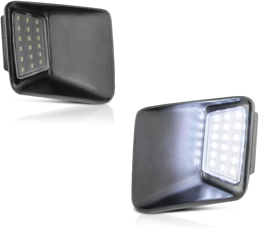 VIPMOTOZ Full LED License Plate Light Tag Lamp Assembly Replacement Pair For 2004-2012 Chevy Colorado GMC Canyon Pickup Truck 2-Piece Set 6000K Diamond White