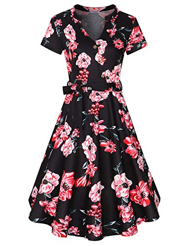 (Diphi LiLi Women's V Neck Long/Short Sleeve Button Decoration Plaid Swing Dress (Floral-Black with red Flower, X-Large))
