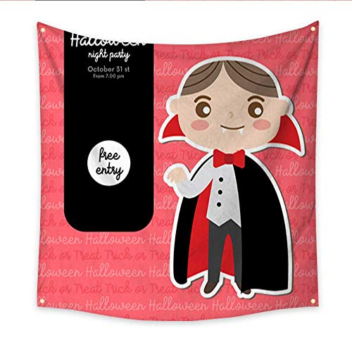 Tapestry Dorm Halloween Design Concept Party Invitation with boy in Dracula Costume Bedspread Dorm Accessories Decor 47W x 47L Inch