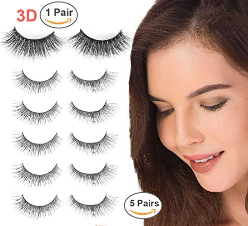 Niidor False Eyelash 5 Pairs Crisscross Eyelashes + 1 Pair 3D Mink Fur False Eyelash for Women,Makeup of Long Thick Natural Look Handmade False Eyelashes