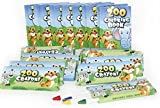 Play Kreative 12 Sets of Zoo Mini Coloring Books and Crayons - Zoo Animal Party Favors Sets Includes 12 Coloring Books, 12 Boxes Zoo Animal Crayons TM