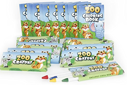 - Play Kreative 12 Sets of Zoo Mini Coloring Books and Crayons - Zoo Animal Party Favors Sets Includes 12 Coloring Books, 12 Boxes Zoo Animal Crayons TM