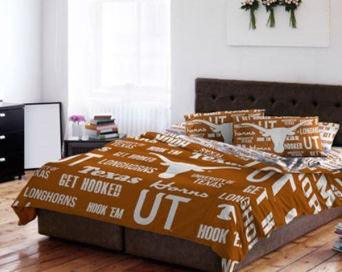 Texas Longhorns NCAA QUEEN Comforter & Sheets (5 Piece Bedding) by DOS