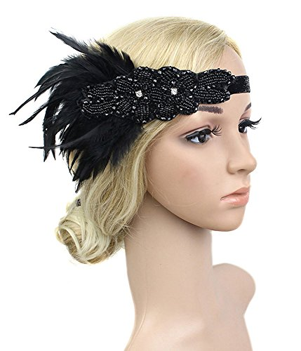 Kathyclassic Women's Vintage Feather 20S Headpiece 1920S Flapper Headband Roaring, Black -