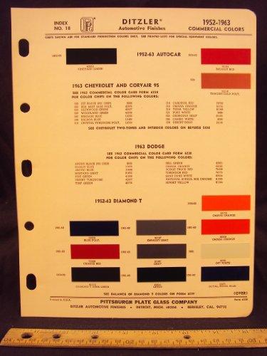(1952, 1953, 1954, 1955, 1956, 1957, 1958, 1959, 1960, 1961, 1962, & 1963 COMMERCIAL Truck, AUTOCAR, & DIAMOND T Paint Colors Chip Page)