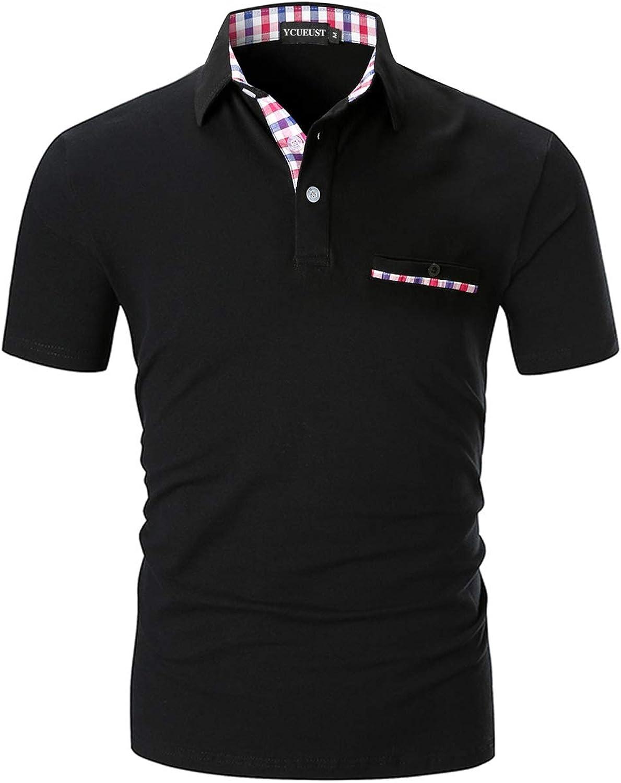 YCUEUST Polo Hombre Manga Corta Camisetas Deporte Cl/ásico Plaid Cuello T-Shirt