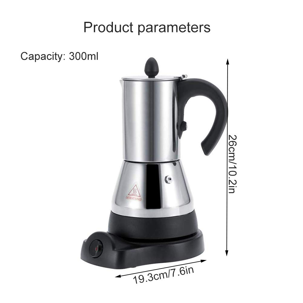 FenRui Stainless Steel Coffee Pot/Portable Electric Moka Pot, with Filter and Heat Resistant Handle, for Home/Office or Traveling Use (480W, 300ml, Silver) by FenRui (Image #5)