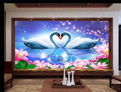 (Sykdybz 3D Room Wallpaper Mural/Custom Non-Woven 3D Photo Wallpaper /Blue Dream Love Swan Lake/Tv/Sofa/Bedding/Ktv/Hotel/Kids Room150Cmx105Cm)