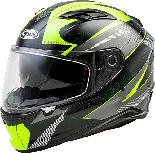 - GMAX FF-98 Adult Apex Full-Face Motorcycle Helmet - Black/Hi-Vis Yellow/Medium