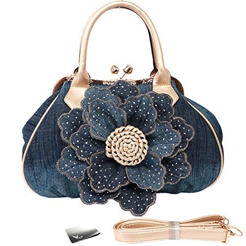 kilofly Women's Large Flower Denim Satchel Handbag Shoulder Bag + KF Money Clip ()