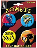 "Ata-Boy Humerus Zombies Assortment #1 Set of 4 1.25"" Collectible Buttons"