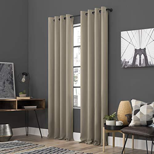 "Sun Zero Soho 2-Pack Energy Efficient Blackout Grommet Curtain Panel Pair, 54"" x 63"", Stone"