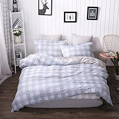 Belles Maison 100% Organic Cotton Duvet Cover Set Gray Blue and Coffee Plaid Bedding,3 Piece Comforter Cover and 2 Pillowcases,Full Queen Size