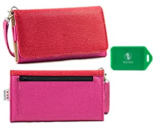 Icemobile Galaxy Prime Plus*Ladies Dual Color magenta/red Wristlet PLUS bonus Neviss luggage tag*