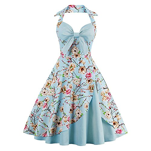 Suroomy Women's Halter Floral Sleeveless Knee Fit-and-Flare Dress, Sky Blue, XX-Large