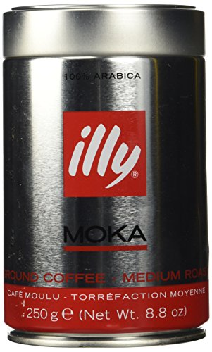 Illy Caffe Normale MOKA Ground Coffee (Red Band), 8.8-Ounce Tins (Pack of 2)
